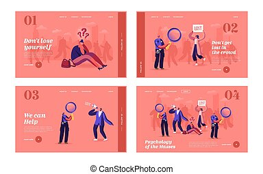 Get Lost in Crowd Landing Page Template Set. Big City Social Problem, Human Behavior, Frustration and Fear. Get Lost