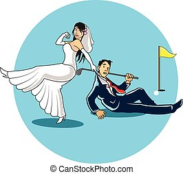Get Married to Golfer - Vector Illustration of Funny Bride...
