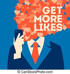Get more likes poster. Businessman holding smartphone with social network