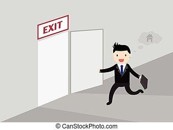 Get Off Work Concept - Businessman running exit door sign he...
