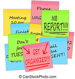 Get organized - business stress notes, white background -...