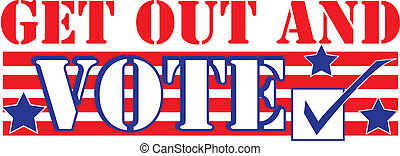 """Red white and blue design with the words """"Get out and vote"""" and a checkmark"""