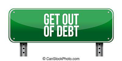 get out of debt horizontal sign concept illustration design...