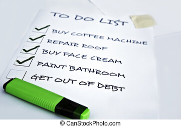To do list with get out of debt unchecked