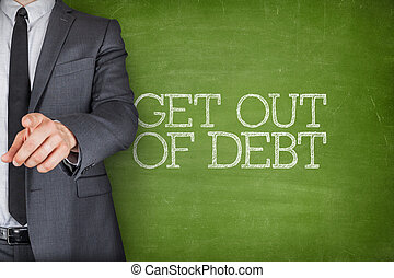 Get out of debt on blackboard with businessman