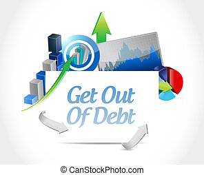 get out of debt sign concept illustration