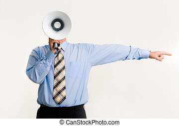 Get out! - Photo of man shouting into loud speaker and...