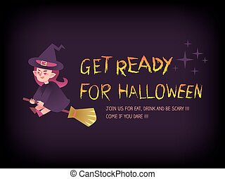 Get ready for halloween text with witch on the broom cartoon