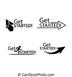 Get started set icon. Flat vector illustration on white background.