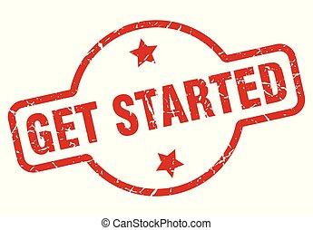 get started stamp