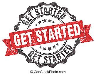 get started stamp. sign. seal
