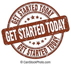 get started today brown grunge round vintage rubber stamp
