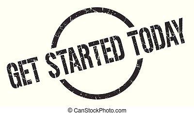 get started today black round stamp