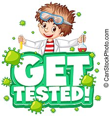 Get Tested font in cartoon style with scientist boy cartoon character isolated