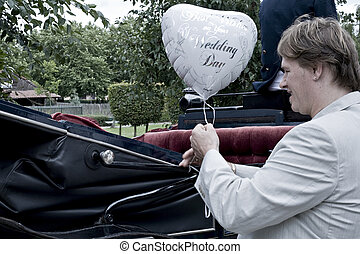 Get the balloon - pictures shooten on a wedding day from a...