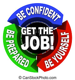 A series of motivational phrase in a circular diagram around the words Get the Job