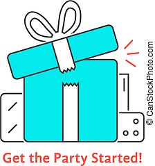 get the party started with thin line gift boxes. concept of...