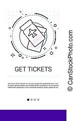 Get Tickets Online Booking Service Banner Vector ...