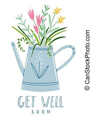 Get well soon floral card, vector illustration