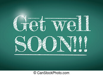 get well soon message illustration design
