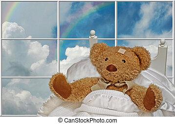 Get Well Soon - Sick teddy bear in bed.