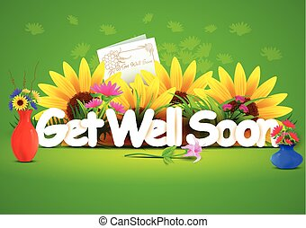 Get well soon wallpaper background - vector illustration of...