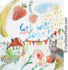 Get well soon watercolor card - Get well soon watercolor ...