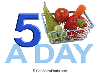 Get your FIVE A DAY - A small shopping basket with five...