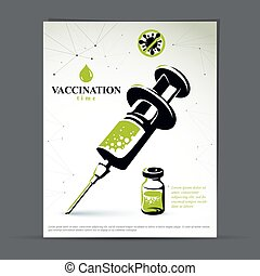 Get your flu shot marketing presentation poster. Vector...