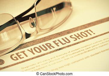 Get Your Flu Shot. Medicine. 3D Illustration.