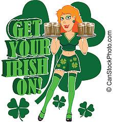 Get your Irish on - Irish bar maid holding two trays of...