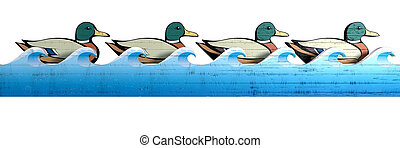 A literal depiction of carnival shooting alley wooden mallard ducks all in uniform rows behind a blue wooden wave cutout on an isolated background