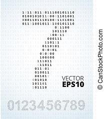 getal, 0-9, alfabet, van, binaire code