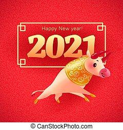 getal, frame, ontwerp, achtergrond., jaar, ornament, oosters, karakter, chinees, floral, kalender, nieuw, felicitatie, uitnodiging, dier, mascotte, rood, gouden kaart, stier, 2021