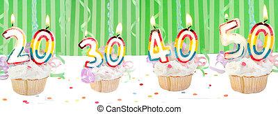getal, jarig, spandoek, cupcakes