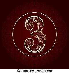 getal, ouderwetse , 3, floral