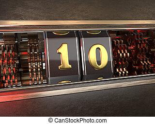 getal, ten), tien, gleuf machine, (number, stijl