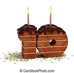 getal, tien, gevormd, de cake van de chocolade