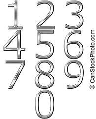 getallen, 3d, zilver