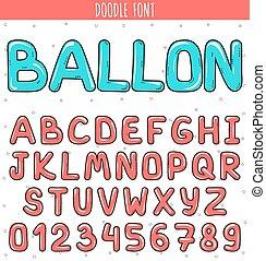getallen, ballon., brieven, brieven, handdrawn, lettertype, volume, set, doodle.