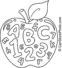 getallen, en, brieven, kleuren, pagina