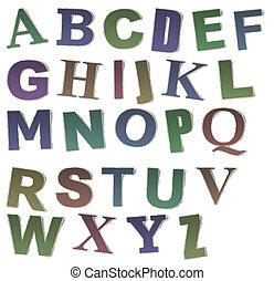 getallen, en, brieven, verzameling, ouderwetse , alfabet,...