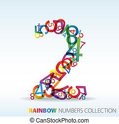 getallen, gemaakt, getal, kleurrijke, twee