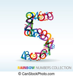 getallen, gemaakt, kleurrijke, vijf, getal