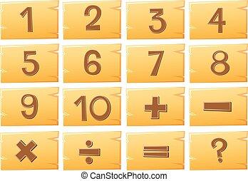 getallen, op, houten raad