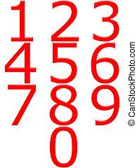 getallen, rood, 3d