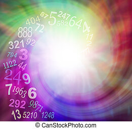 getallen, spiraling, energie