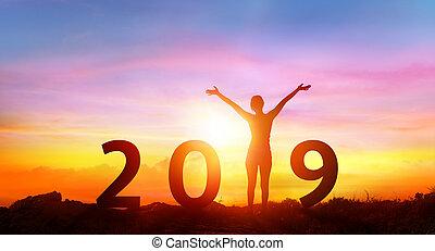 getallen, zonopkomst, -, vrolijke , jaar, nieuw, meisje, 2019