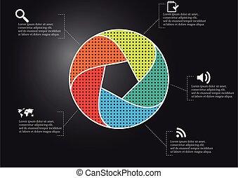 geteilt, schablone, vektor, abbildung, kreis, form, infographic