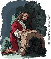 gethsemane, 庭, jesus., 祈とう